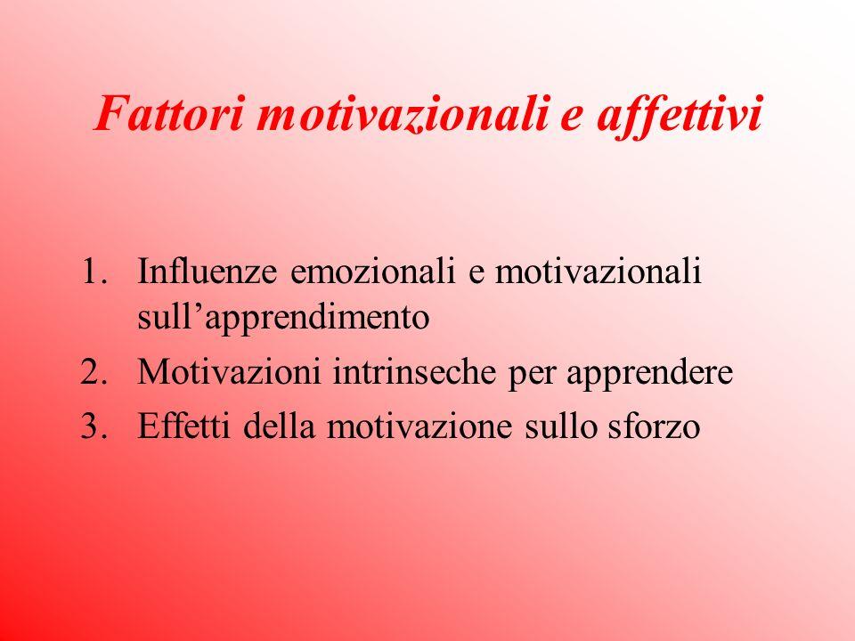 Fattori motivazionali e affettivi 1.Influenze emozionali e motivazionali sullapprendimento 2.Motivazioni intrinseche per apprendere 3.Effetti della motivazione sullo sforzo