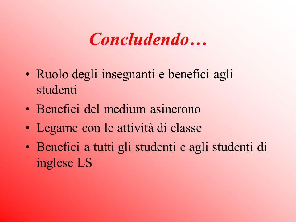 Concludendo… Ruolo degli insegnanti e benefici agli studenti Benefici del medium asincrono Legame con le attività di classe Benefici a tutti gli studenti e agli studenti di inglese LS