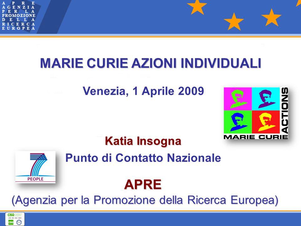 Venezia, 1 Aprile 2009 APRE APRE (Agenzia per la Promozione della Ricerca Europea) Katia Insogna Punto di Contatto Nazionale MARIE CURIE AZIONI INDIVIDUALI