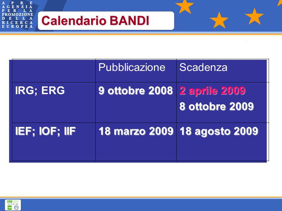 PubblicazioneScadenza IRG; ERG 9 ottobre 2008 2 aprile 2009 8 ottobre 2009 IEF; IOF; IIF 18 marzo 2009 18 agosto 2009 Calendario BANDI