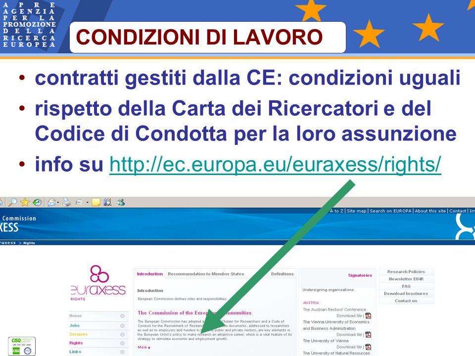 contratti gestiti dalla CE: condizioni uguali rispetto della Carta dei Ricercatori e del Codice di Condotta per la loro assunzione info su http://ec.europa.eu/euraxess/rights/http://ec.europa.eu/euraxess/rights/ CONDIZIONI DI LAVORO