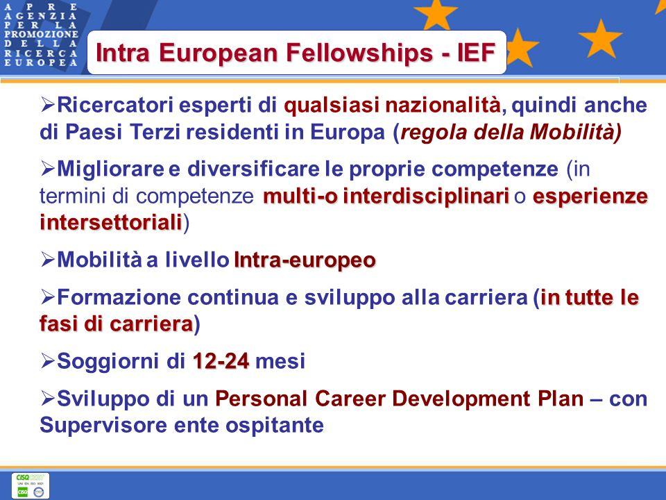 Ricercatori esperti di qualsiasi nazionalità, quindi anche di Paesi Terzi residenti in Europa (regola della Mobilità) multi-o interdisciplinariesperienze intersettoriali Migliorare e diversificare le proprie competenze (in termini di competenze multi-o interdisciplinari o esperienze intersettoriali) Intra-europeo Mobilità a livello Intra-europeo in tutte le fasi di carriera Formazione continua e sviluppo alla carriera (in tutte le fasi di carriera) 12-24 Soggiorni di 12-24 mesi Sviluppo di un Personal Career Development Plan – con Supervisore ente ospitante Intra European Fellowships - IEF