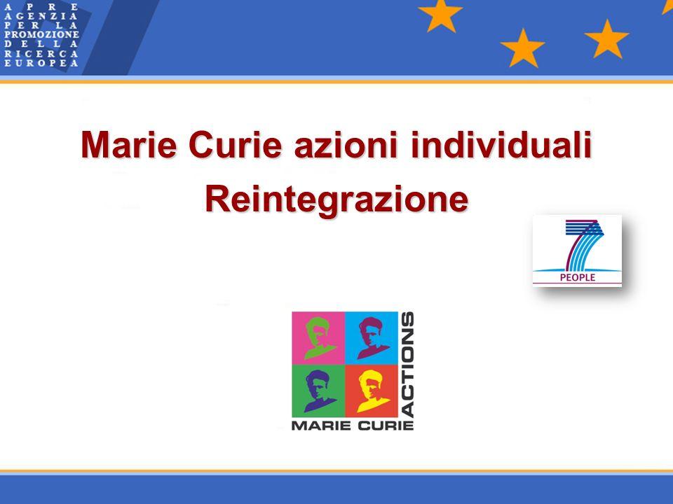 Marie Curie azioni individuali Reintegrazione