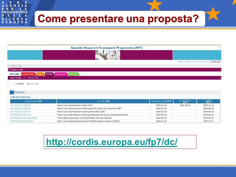 http://cordis.europa.eu/fp7/dc/ Come presentare una proposta?