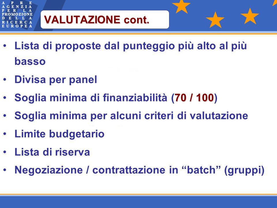 Lista di proposte dal punteggio più alto al più basso Divisa per panel 70 / 100Soglia minima di finanziabilità (70 / 100) Soglia minima per alcuni criteri di valutazione Limite budgetario Lista di riserva Negoziazione / contrattazione in batch (gruppi) VALUTAZIONE cont.