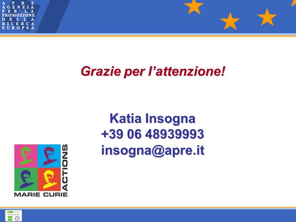 Grazie per lattenzione! Katia Insogna +39 06 48939993 insogna@apre.it