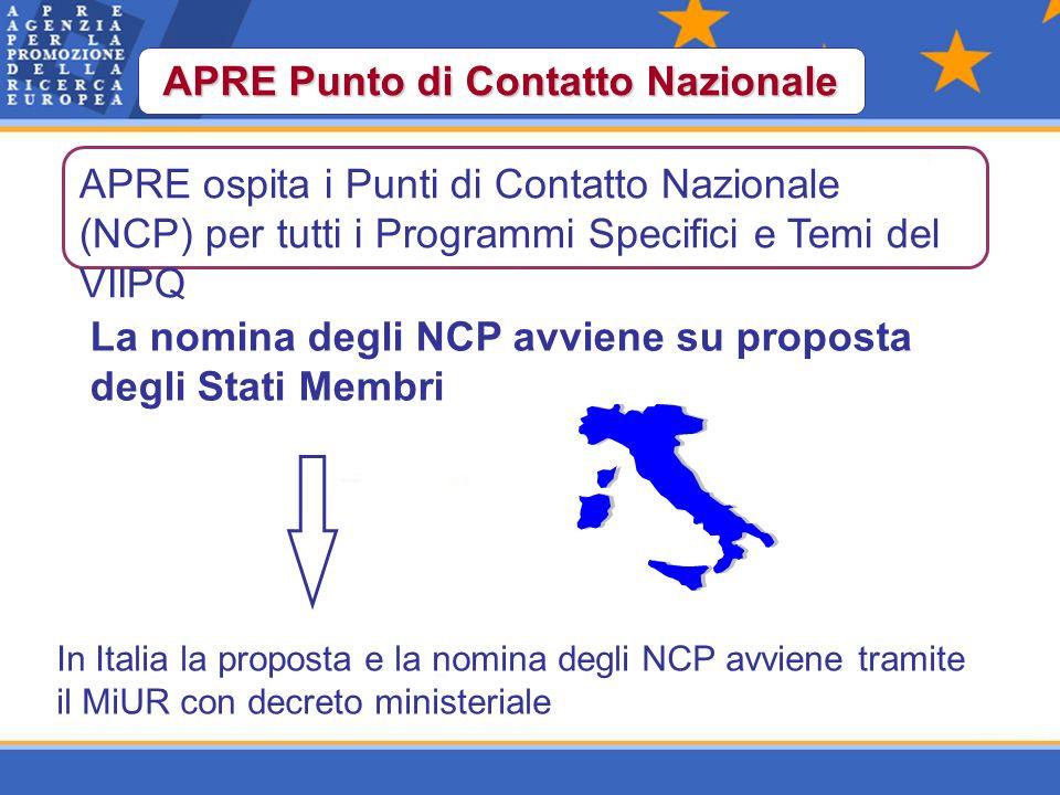 APRE Punto di Contatto Nazionale La nomina degli NCP avviene su proposta degli Stati Membri In Italia la proposta e la nomina degli NCP avviene tramite il MiUR con decreto ministeriale APRE ospita i Punti di Contatto Nazionale (NCP) per tutti i Programmi Specifici e Temi del VIIPQ