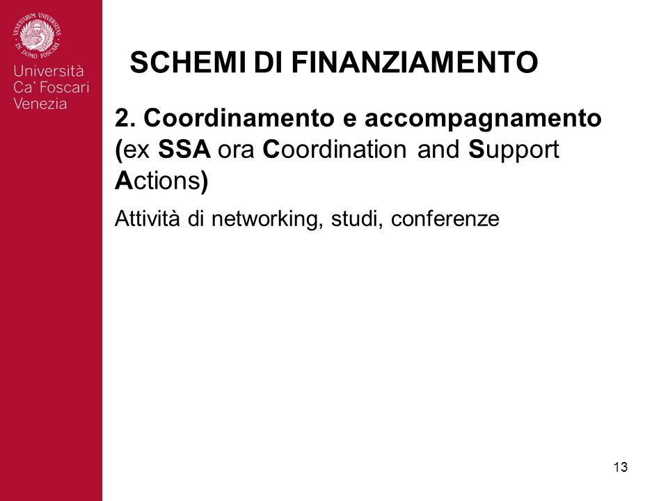 13 SCHEMI DI FINANZIAMENTO 2. Coordinamento e accompagnamento (ex SSA ora Coordination and Support Actions) Attività di networking, studi, conferenze