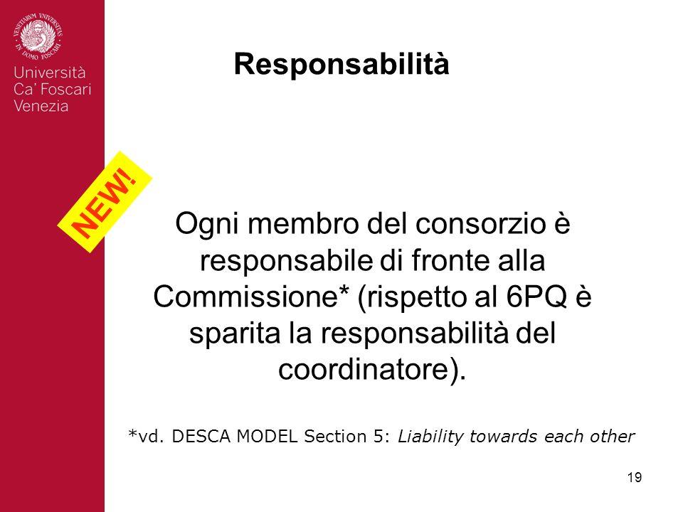 19 Responsabilità Ogni membro del consorzio è responsabile di fronte alla Commissione* (rispetto al 6PQ è sparita la responsabilità del coordinatore).