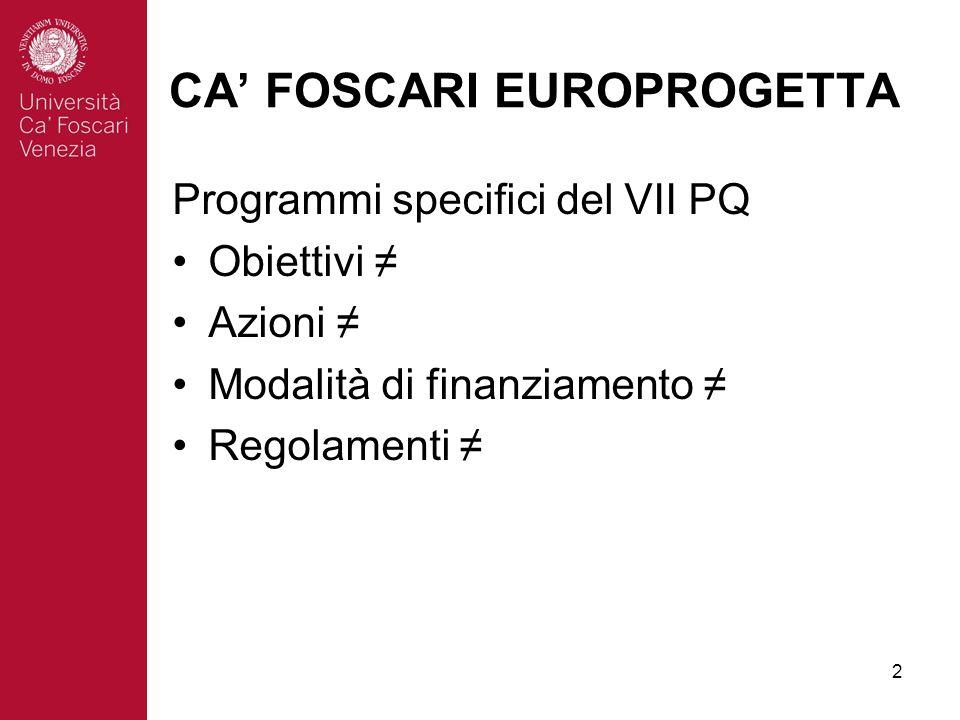 2 CA FOSCARI EUROPROGETTA Programmi specifici del VII PQ Obiettivi Azioni Modalità di finanziamento Regolamenti