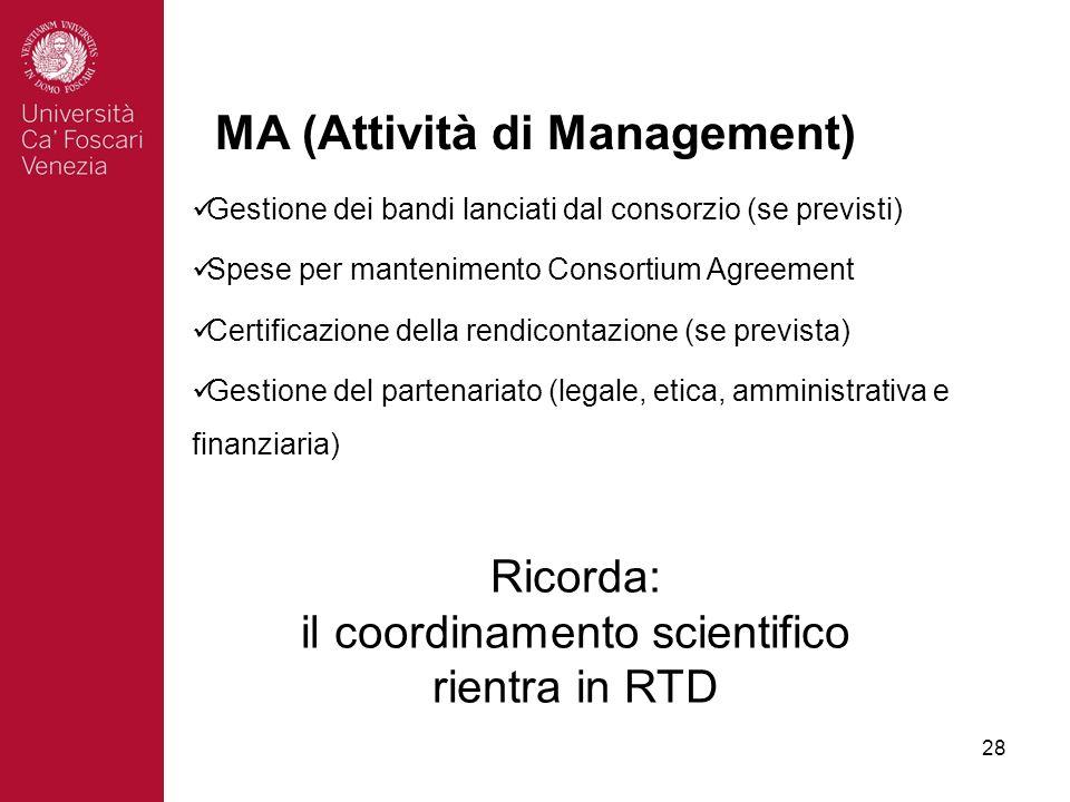 28 Gestione dei bandi lanciati dal consorzio (se previsti) Spese per mantenimento Consortium Agreement Certificazione della rendicontazione (se prevista) Gestione del partenariato (legale, etica, amministrativa e finanziaria) Ricorda: il coordinamento scientifico rientra in RTD MA (Attività di Management)