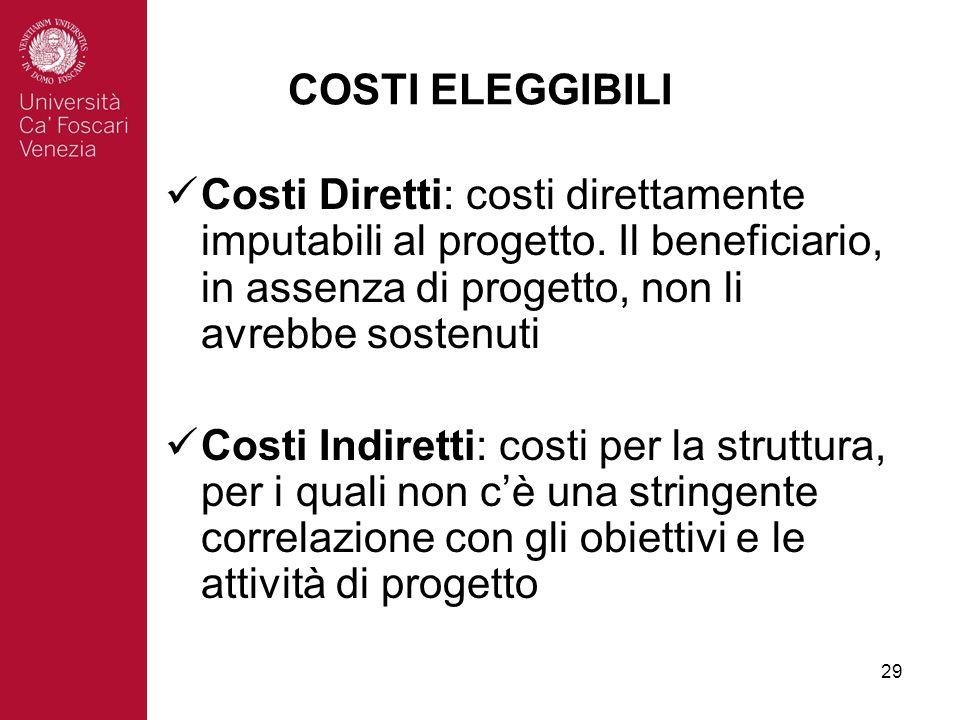29 COSTI ELEGGIBILI Costi Diretti: costi direttamente imputabili al progetto.