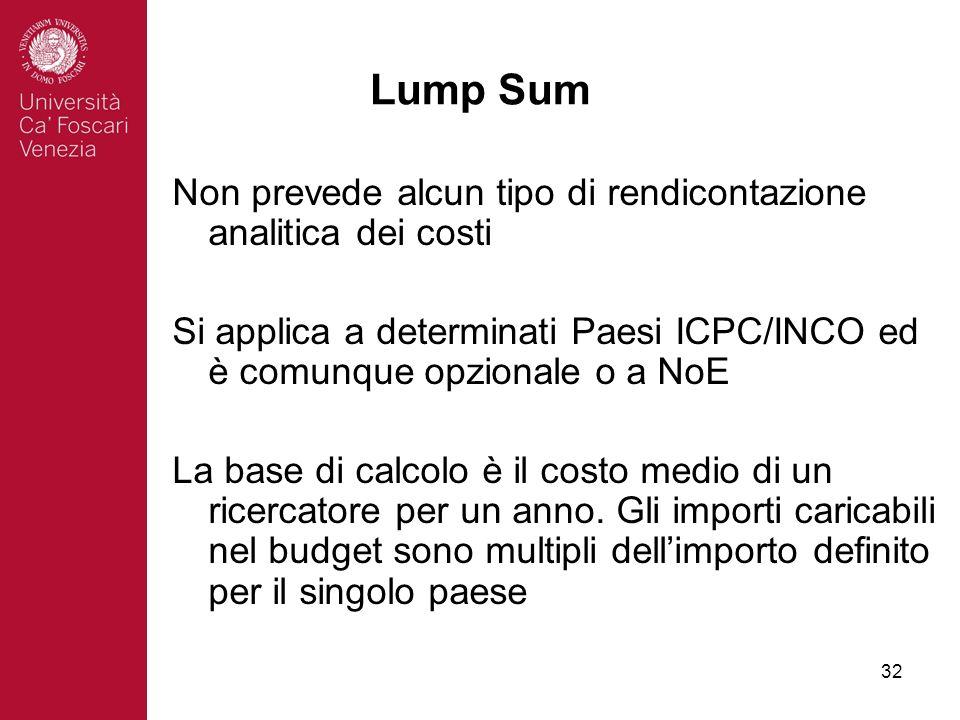 32 Lump Sum Non prevede alcun tipo di rendicontazione analitica dei costi Si applica a determinati Paesi ICPC/INCO ed è comunque opzionale o a NoE La base di calcolo è il costo medio di un ricercatore per un anno.
