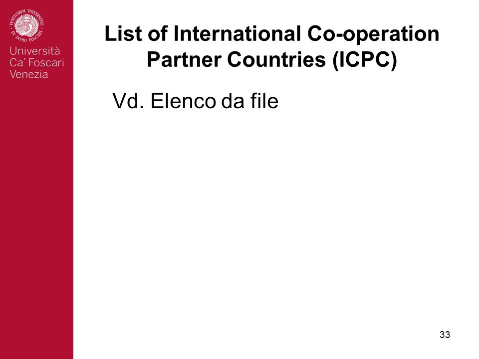33 List of International Co-operation Partner Countries (ICPC) Vd. Elenco da file