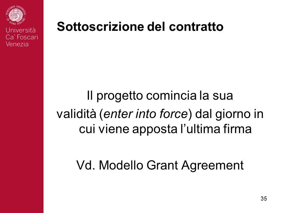 35 Sottoscrizione del contratto Il progetto comincia la sua validità (enter into force) dal giorno in cui viene apposta lultima firma Vd.