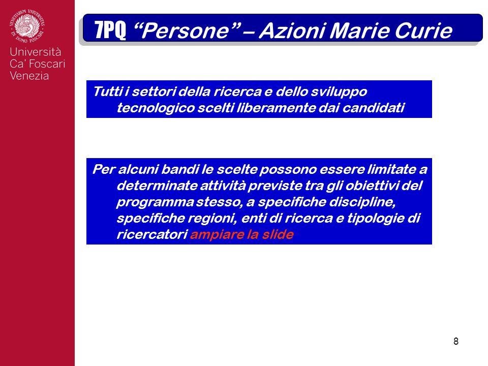8 7PQ Persone – Azioni Marie Curie.