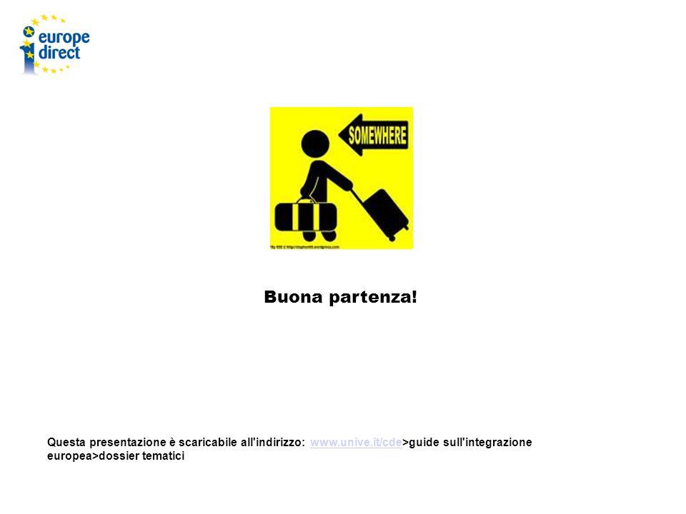Buona partenza! Questa presentazione è scaricabile all'indirizzo: www.unive.it/cde>guide sull'integrazione europea>dossier tematiciwww.unive.it/cde