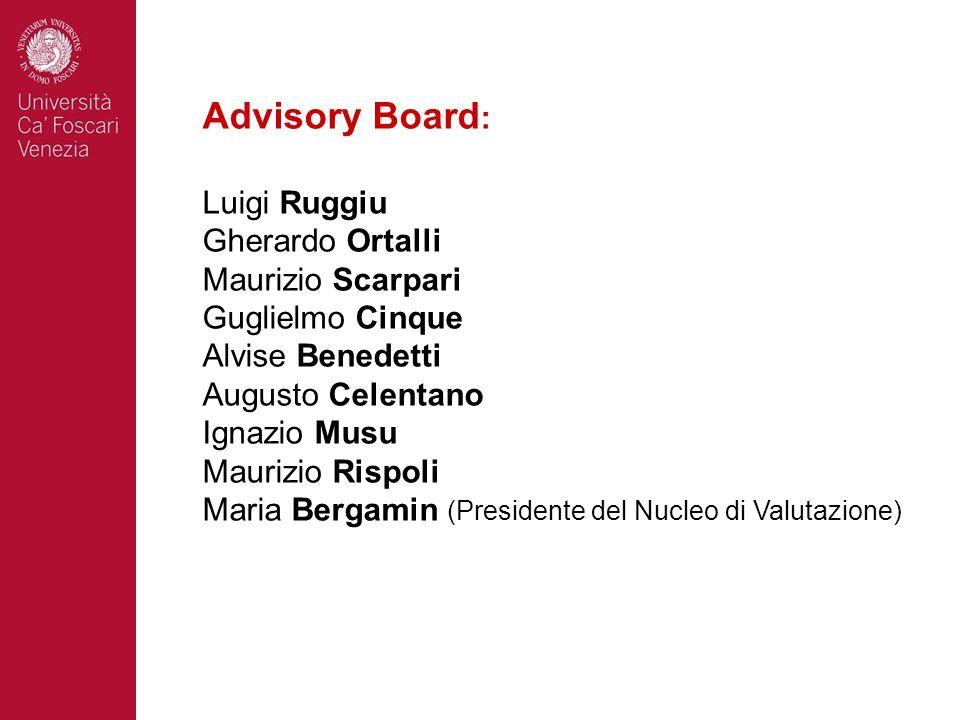 Advisory Board : Luigi Ruggiu Gherardo Ortalli Maurizio Scarpari Guglielmo Cinque Alvise Benedetti Augusto Celentano Ignazio Musu Maurizio Rispoli Mar