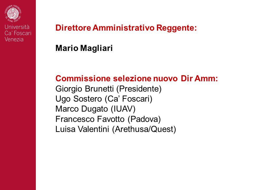 Direttore Amministrativo Reggente: Mario Magliari Commissione selezione nuovo Dir Amm: Giorgio Brunetti (Presidente) Ugo Sostero (Ca Foscari) Marco Du