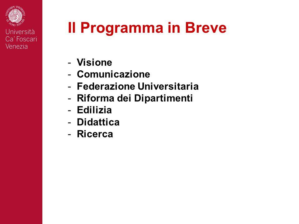 Il Programma in Breve - Visione - Comunicazione - Federazione Universitaria - Riforma dei Dipartimenti - Edilizia - Didattica - Ricerca