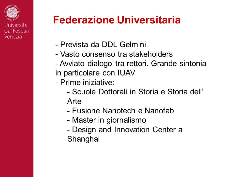 Federazione Universitaria - Prevista da DDL Gelmini - Vasto consenso tra stakeholders - Avviato dialogo tra rettori. Grande sintonia in particolare co