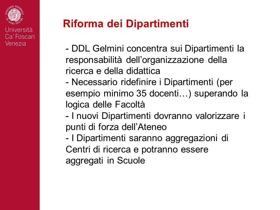 Riforma dei Dipartimenti - DDL Gelmini concentra sui Dipartimenti la responsabilità dellorganizzazione della ricerca e della didattica - Necessario ri