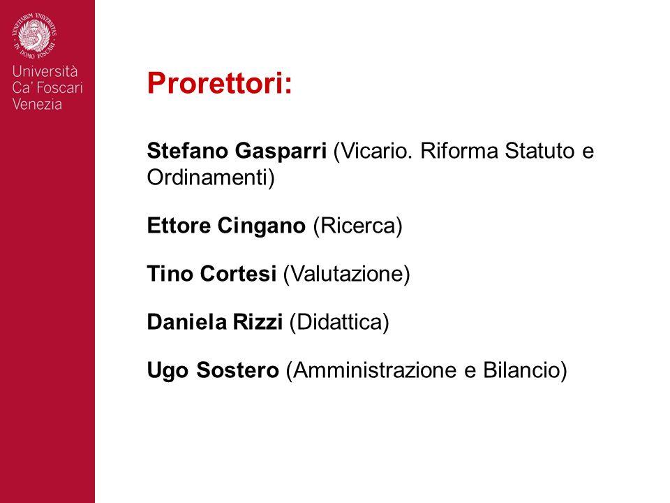 Prorettori: Stefano Gasparri (Vicario. Riforma Statuto e Ordinamenti) Ettore Cingano (Ricerca) Tino Cortesi (Valutazione) Daniela Rizzi (Didattica) Ug