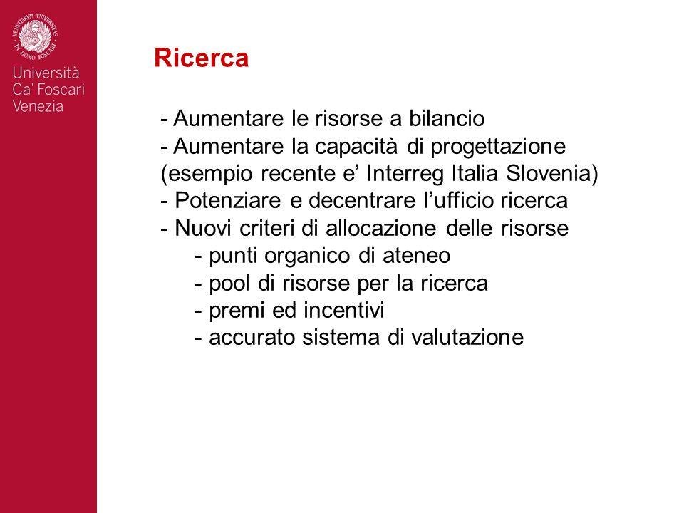 Ricerca - Aumentare le risorse a bilancio - Aumentare la capacità di progettazione (esempio recente e Interreg Italia Slovenia) - Potenziare e decentr