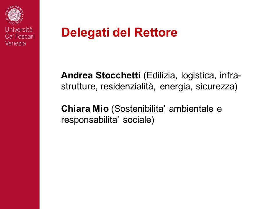 Delegati del Rettore Andrea Stocchetti (Edilizia, logistica, infra- strutture, residenzialità, energia, sicurezza) Chiara Mio (Sostenibilita ambiental