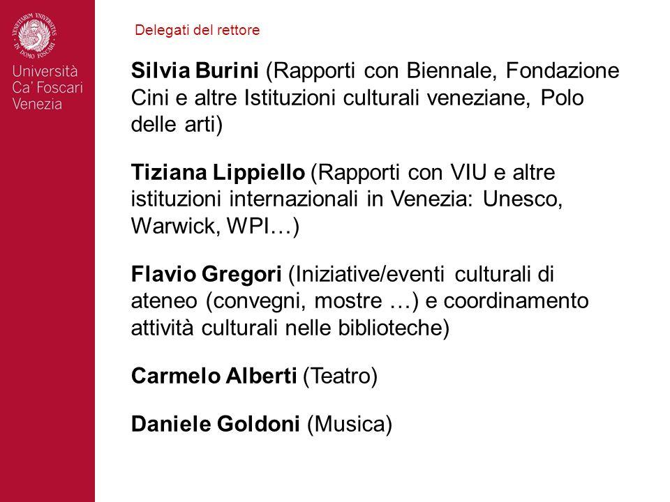 Delegati del rettore Silvia Burini (Rapporti con Biennale, Fondazione Cini e altre Istituzioni culturali veneziane, Polo delle arti) Tiziana Lippiello