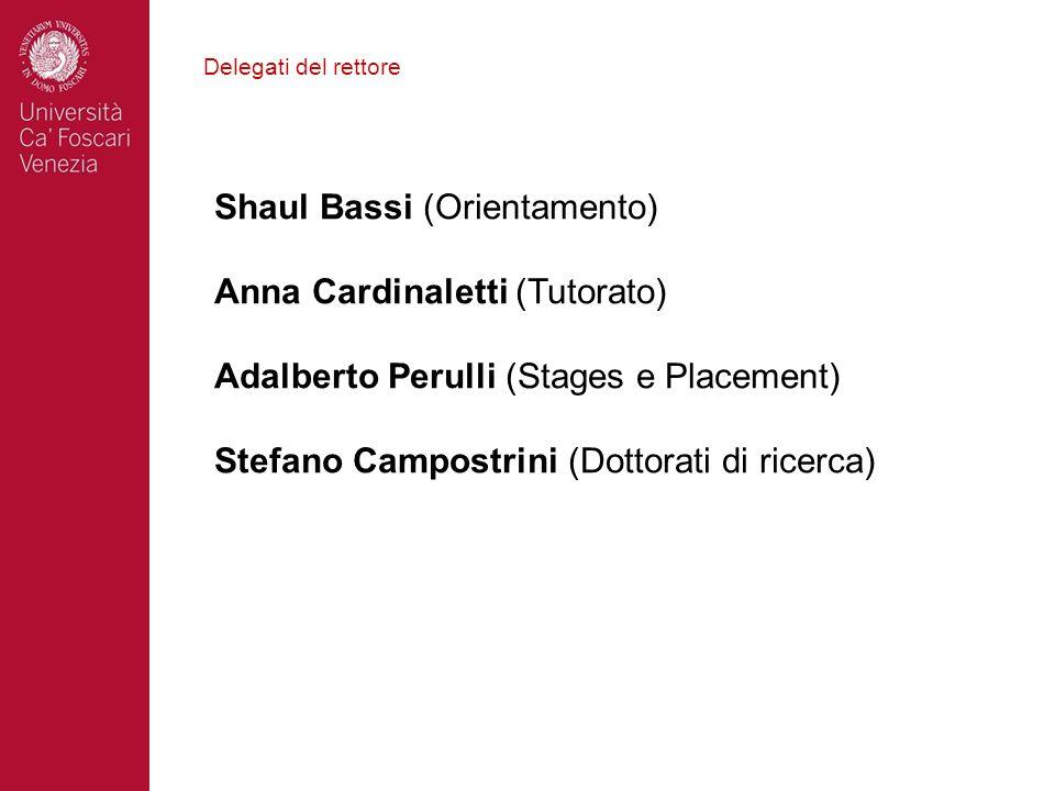 Delegati del rettore Shaul Bassi (Orientamento) Anna Cardinaletti (Tutorato) Adalberto Perulli (Stages e Placement) Stefano Campostrini (Dottorati di
