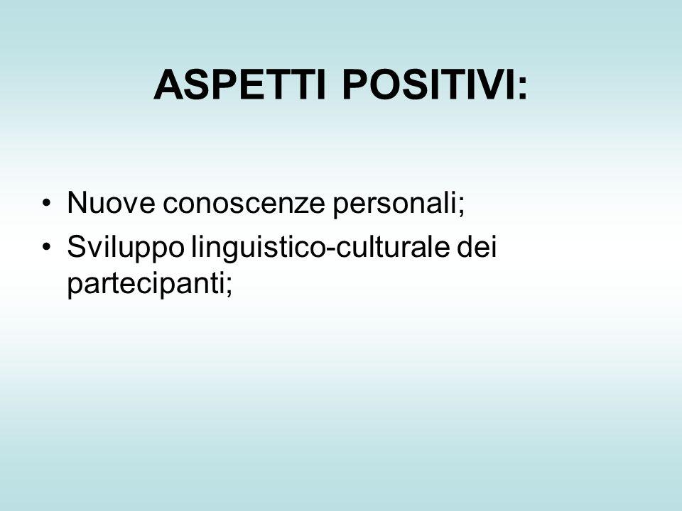 ASPETTI POSITIVI: Nuove conoscenze personali; Sviluppo linguistico-culturale dei partecipanti;