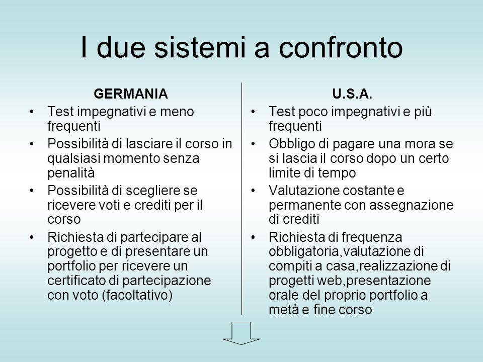 I due sistemi a confronto GERMANIA Test impegnativi e meno frequenti Possibilità di lasciare il corso in qualsiasi momento senza penalità Possibilità