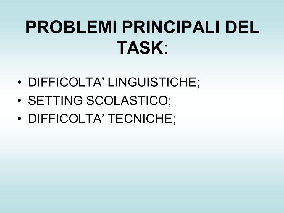 PROBLEMI PRINCIPALI DEL TASK: DIFFICOLTA LINGUISTICHE; SETTING SCOLASTICO; DIFFICOLTA TECNICHE;