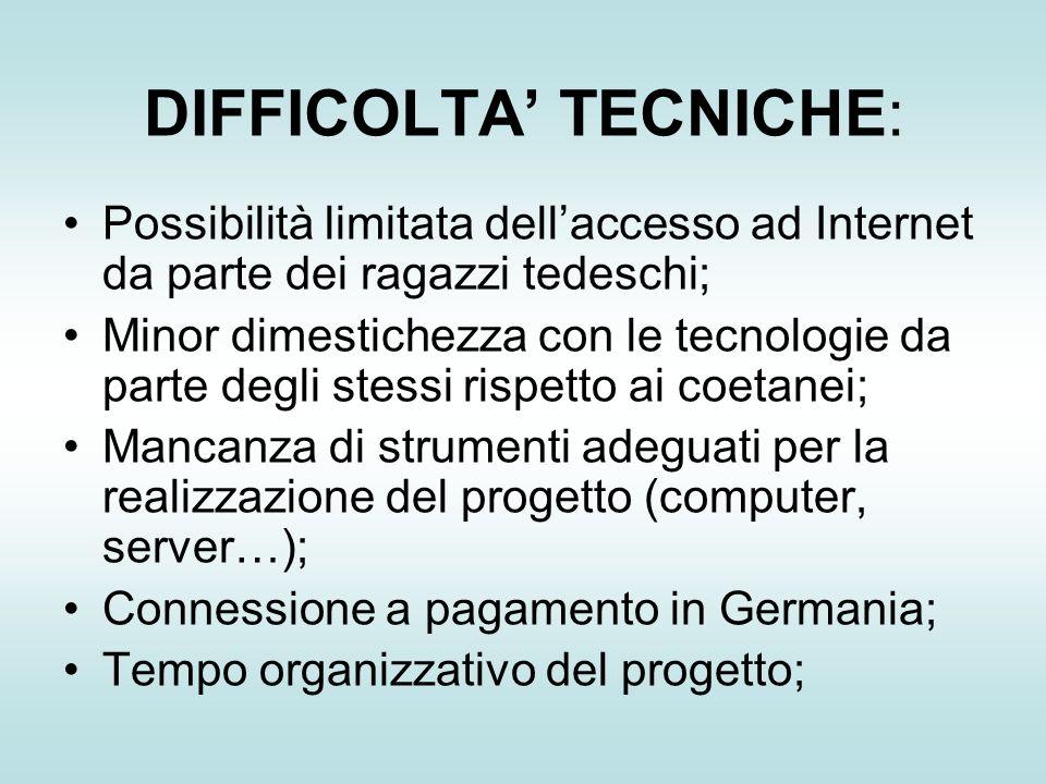 DIFFICOLTA TECNICHE: Possibilità limitata dellaccesso ad Internet da parte dei ragazzi tedeschi; Minor dimestichezza con le tecnologie da parte degli