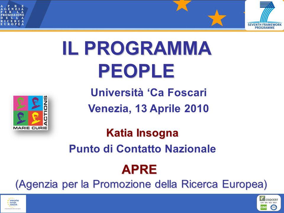 Katia Insogna Punto di Contatto Nazionale APRE APRE (Agenzia per la Promozione della Ricerca Europea) Università Ca Foscari Venezia, 13 Aprile 2010 IL