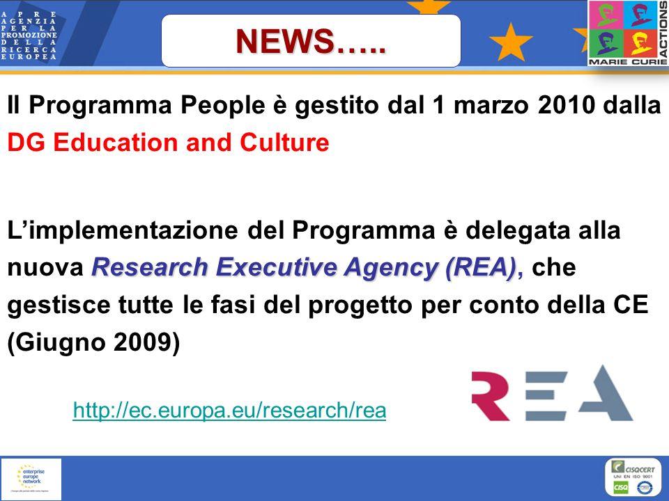 NEWS….. Il Programma People è gestito dal 1 marzo 2010 dalla DG Education and Culture Research Executive Agency (REA) Limplementazione del Programma è