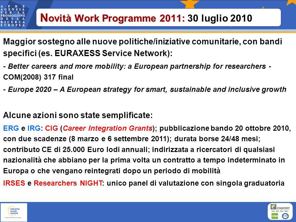 N ovità Work Programme 2011: N ovità Work Programme 2011: 30 luglio 2010 Maggior sostegno alle nuove politiche/iniziative comunitarie, con bandi speci