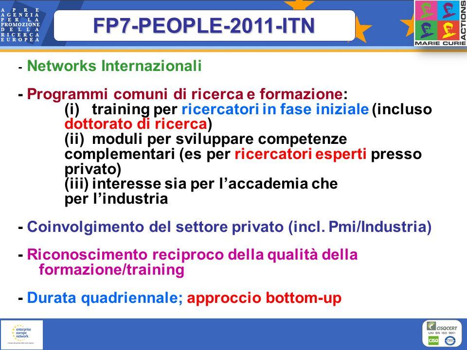 - Networks Internazionali - Programmi comuni di ricerca e formazione: (i) training per ricercatori in fase iniziale (incluso dottorato di ricerca) (ii