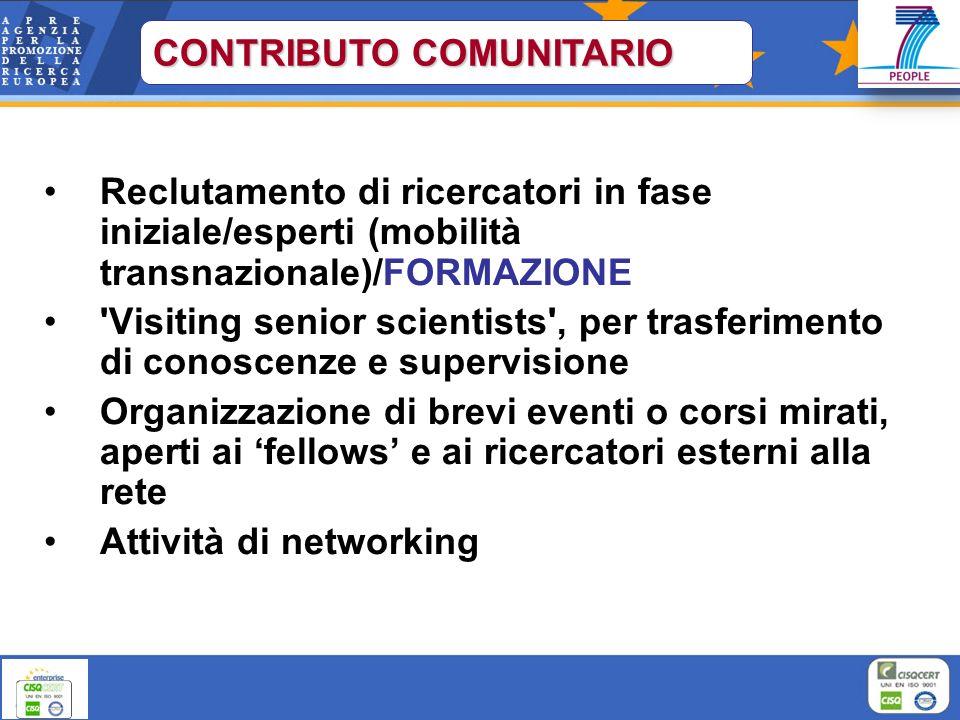 Reclutamento di ricercatori in fase iniziale/esperti (mobilità transnazionale)/FORMAZIONE 'Visiting senior scientists', per trasferimento di conoscenz