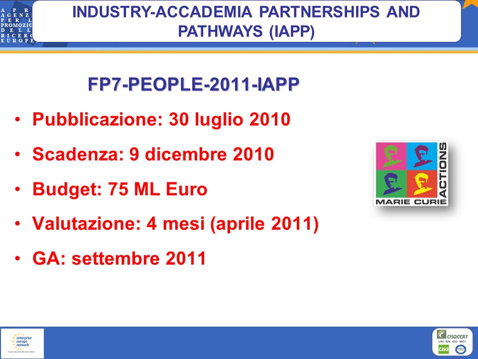INDUSTRY-ACCADEMIA PARTNERSHIPS AND PATHWAYS (IAPP) FP7-PEOPLE-2011-IAPP Pubblicazione: 30 luglio 2010 Scadenza: 9 dicembre 2010 Budget: 75 ML Euro Va
