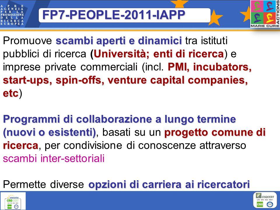 FP7-PEOPLE-2011-IAPP scambi aperti e dinamici Università; enti di ricerca PMI, incubators, start-ups, spin-offs, venture capital companies, etc Promuo