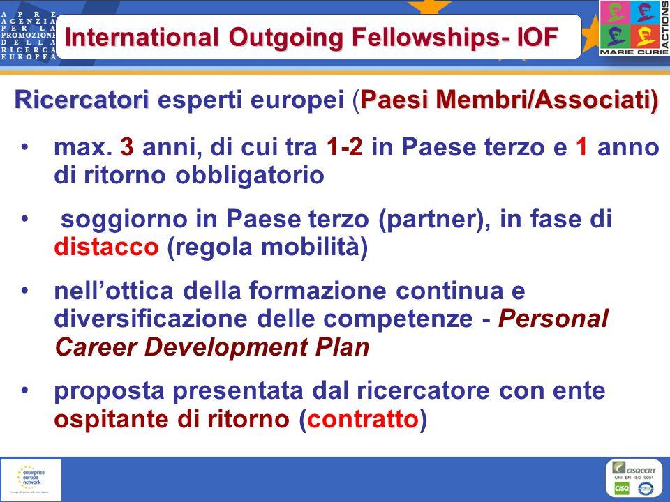 Ricercatori Paesi Membri/Associati) Ricercatori esperti europei (Paesi Membri/Associati) max. 3 anni, di cui tra 1-2 in Paese terzo e 1 anno di ritorn