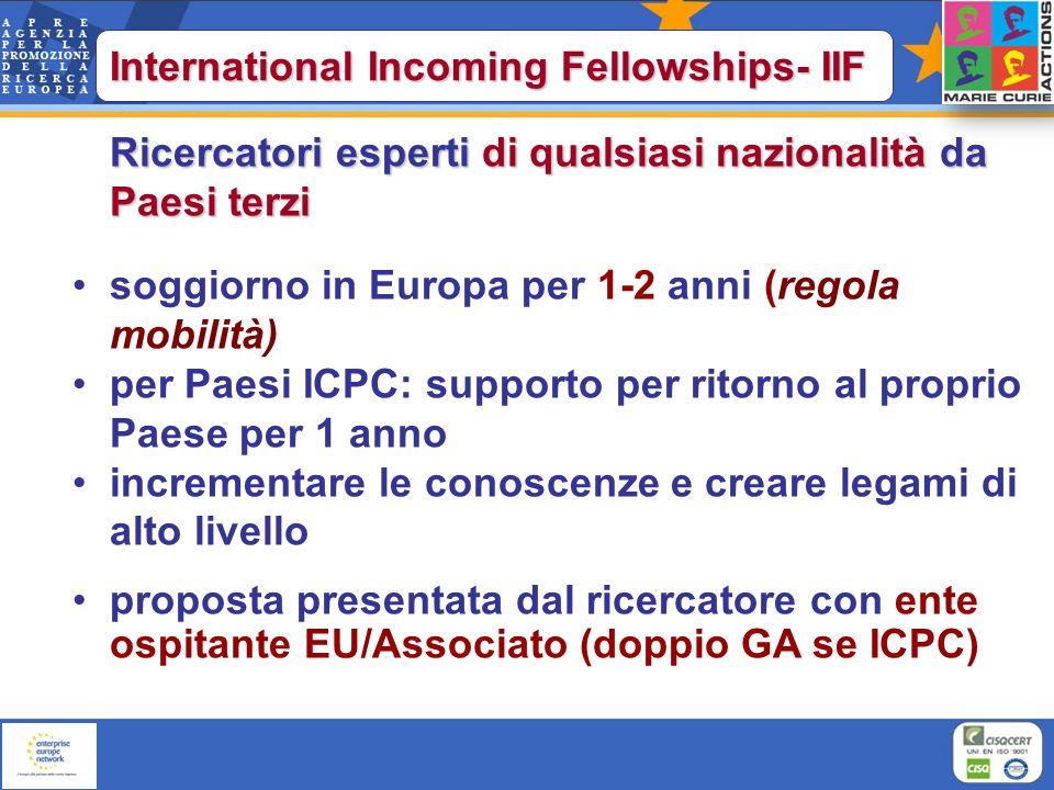 Ricercatori esperti di qualsiasi nazionalità da Paesi terzi soggiorno in Europa per 1-2 anni (regola mobilità) per Paesi ICPC: supporto per ritorno al