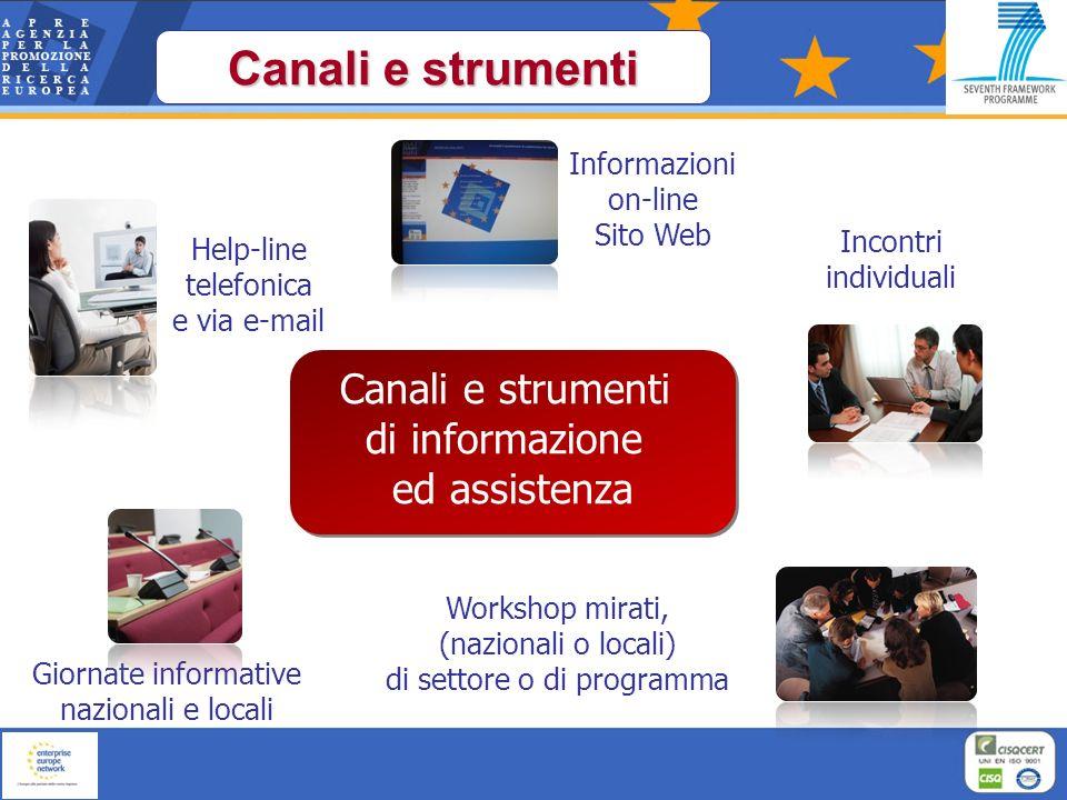 Canali e strumenti Giornate informative nazionali e locali Workshop mirati, (nazionali o locali) di settore o di programma Help-line telefonica e via