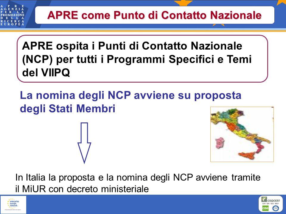APRE come Punto di Contatto Nazionale La nomina degli NCP avviene su proposta degli Stati Membri In Italia la proposta e la nomina degli NCP avviene t
