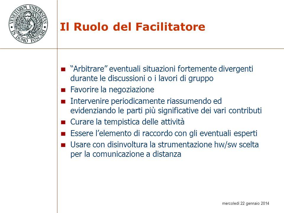 mercoledì 22 gennaio 2014 Il Ruolo del Facilitatore Arbitrare eventuali situazioni fortemente divergenti durante le discussioni o i lavori di gruppo F