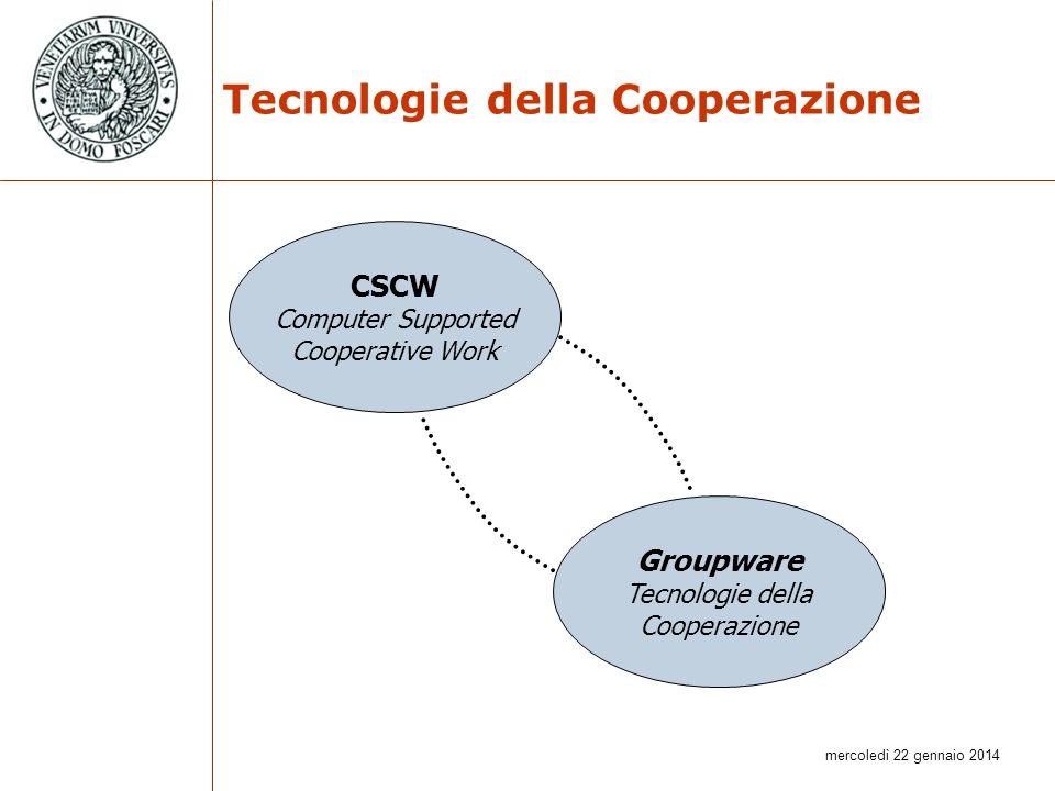 mercoledì 22 gennaio 2014 Tecnologie della Cooperazione CSCW Computer Supported Cooperative Work Groupware Tecnologie della Cooperazione