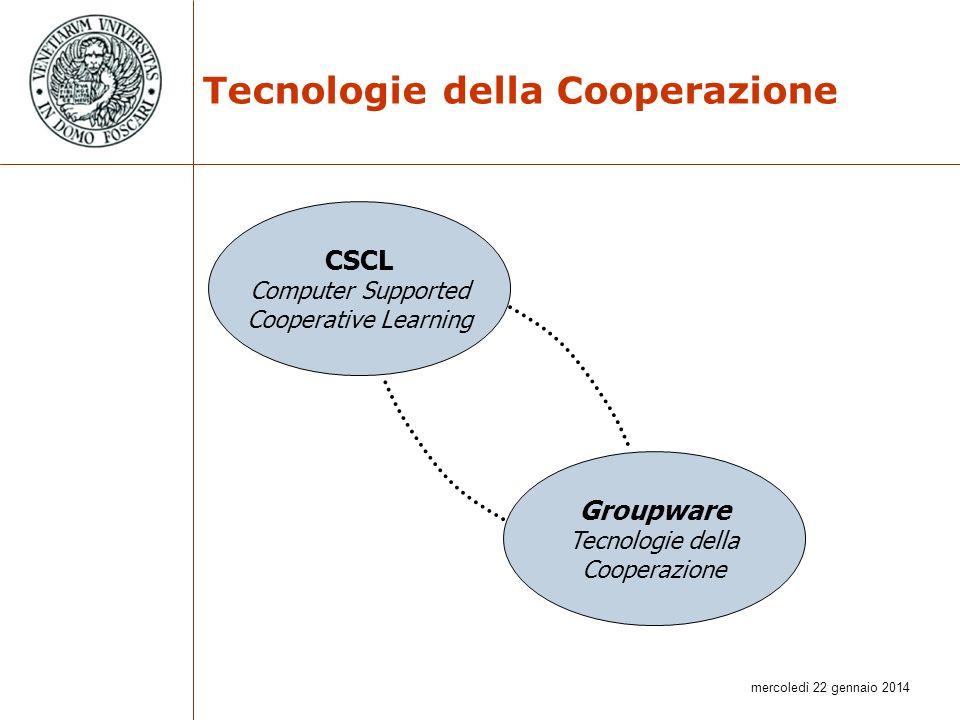 mercoledì 22 gennaio 2014 Tecnologie della Cooperazione CSCL Computer Supported Cooperative Learning Groupware Tecnologie della Cooperazione
