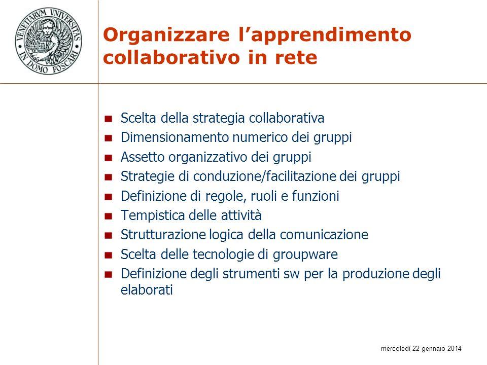 mercoledì 22 gennaio 2014 Organizzare lapprendimento collaborativo in rete Scelta della strategia collaborativa Dimensionamento numerico dei gruppi As